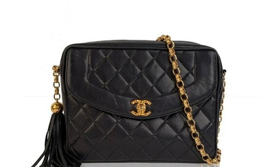 Chanel Vintage Blue Quilted Leather Camera Tassel