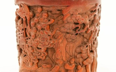 Chinese Bamboo Brush Pot with Scholars in Landscape