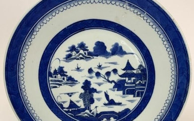 Chinese Blue & White Canton Charger Dish