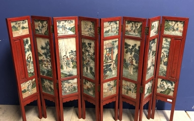 Chinese C19th painted marble eight-panel folding screen, 85H...