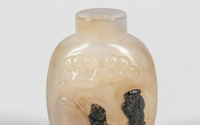 Chinese Carved Cameo Agate Snuff Bottle