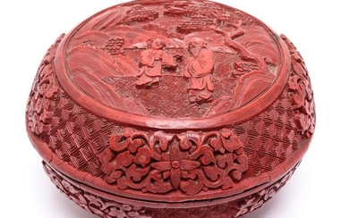 Chinese Carved Cinnabar Lacquered Round Box
