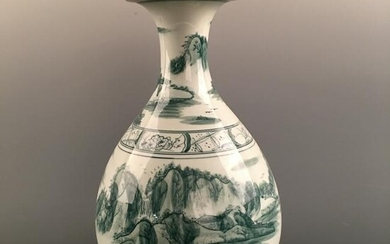 Chinese Green Glazed 'Landscape' Vase