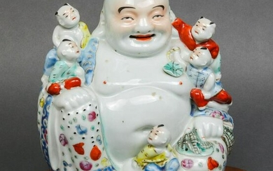 Chinese Polychrome Porcelain Laughing Buddha