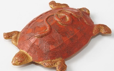 Chinese Red Ink Cake, 20th c., of turtle form