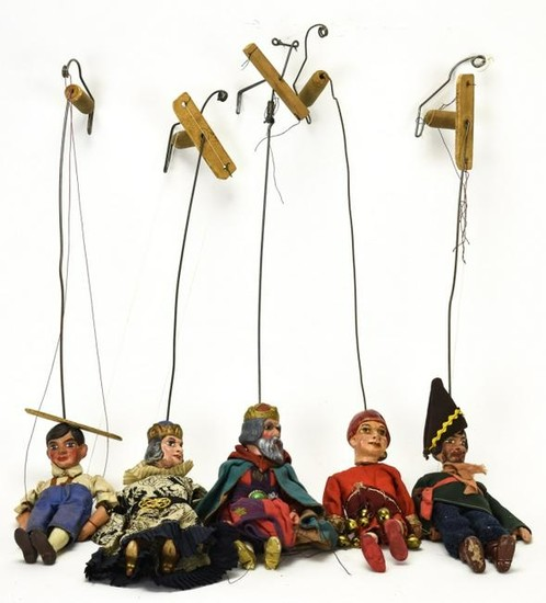 Collection Five Antique German Toy Theatre Puppets