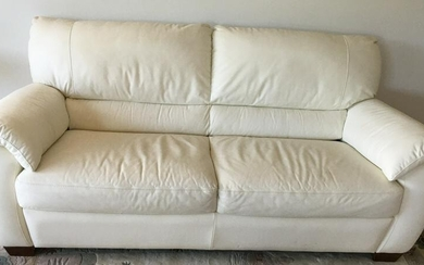 Contemporary White Leather Sofa / Couch