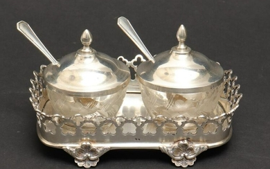 Continental Silver Salts with Spoons & Tray