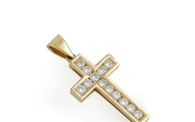 Cross pendant in 18K (750/°°) yellow gold, entirely...
