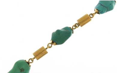 Designer 18ct gold and turquoise bracelet, 22cm in length, 4...