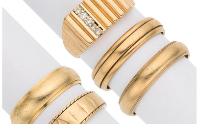 Diamond, Gold Rings The lot includes a ring accented...