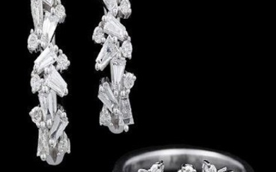 Diamond Ring and Earrings 18k white gold, the ring...