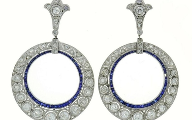 Diamond Sapphire White Gold Dangle EARRINGS Art Deco