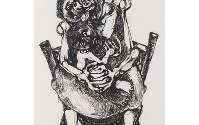 Dumile Feni South African 1942–1991 Mother and child 1966 charcoal on paper signed and dated bottom right 98