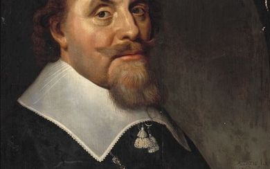 Dutch school, 17th century: Portrait of a gentleman, aged 60, half-length, in black with a white collar. Unsigned. Oil on panel. 63×48 cm.