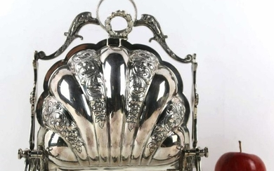 ENGLISH SILVER PLATE ANTIQUE CHASED BISCUIT WARMER