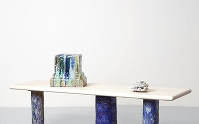 Elena Gileva - Coffee table with glazed ceramic legs and a sycamore wood table top