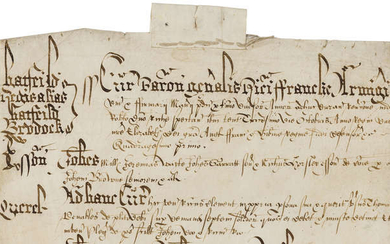 Essex, Hatfield Regis alias Hatfield Broad Oak.- Court Rolls of the Manor of Hatfield Regis, manuscripts in Latin, on vellum, c. 85 membranes, 1553, 1588, 1591, 1594 & 1666; sold subject to the Manorial Documents Rules, these items may not be removed...