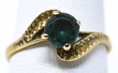Estate 14kt Yellow Gold & Emerald Solitaire Ring