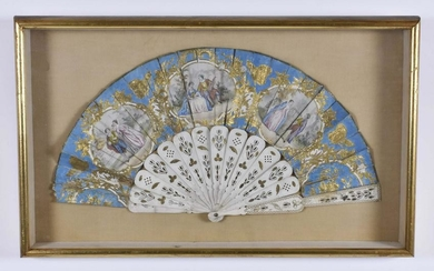 FRENCH PAINTED AND PARCEL GILT FAN