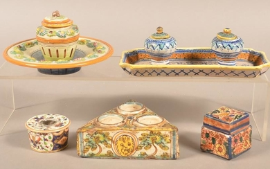 Five Antique Hand-Painted Pottery Inkwells.