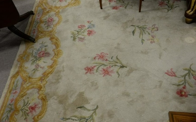 "French Aubusson style custom carpet, marked ""Made in"