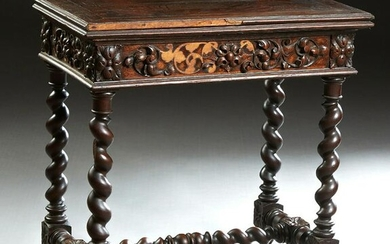 French Louis XIII Style Carved Oak Games Table, c.
