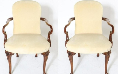 French Style Carved Wood & Upholstered Fauteuils