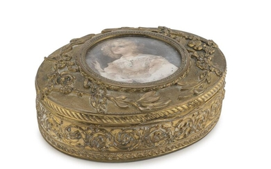 GOLDEN BRONZE JEWELERY BOX LATE 19th CENTURY