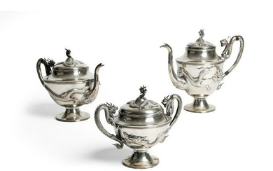 GROUP OF THREE EXPORT SILVER COFFEE SET QING DYNASTY
