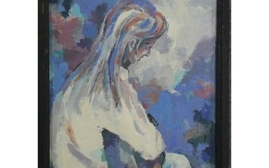 Gallant, 20th C. Oil/b, Seated Woman Playing Guitar