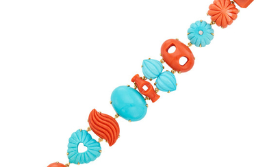 Gold, Fluted Coral and Turquoise, Diamond and Cabochon Sapphire Bracelet