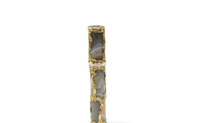 Gold cage work and Agate bodkin case - A banded grey agate a...