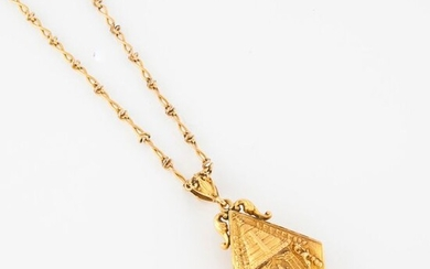 Gold-plated metal chain with fancy stitch retaining a yellow gold (750) diamond-shaped picture pendant with Indian deities.