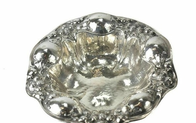 Gorham Sterling Silver Hand Hammered Nut Bowl, 1906