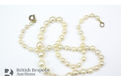 Graduated pearl necklace, pearls measure from 4mm d to 8 mm ...