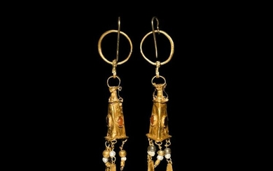 Greek Hellenistic Gold Earrings with Amphora Drops