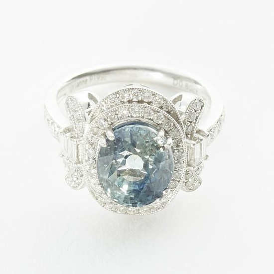 Green Blue Sapphire and Diamond Ring