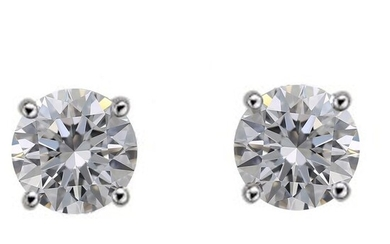 IGI CERTIFIED - 18 kt. White gold - Earrings - 2.02 ct Diamond