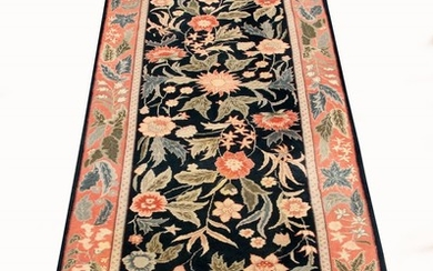 INDO PERSIAN HAND WOVEN WOOL BLUE RUG