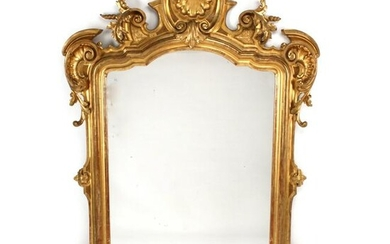 Italian Baroque Style Gilt-Wood Console with Mirror.