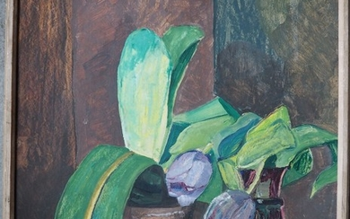 Johanne Valeur Kyhn: Still life with yellow elephant. Signed with monogram JVK and dated 25–1-32. Oil on cardboard. Frame size 51.5×43 cm.
