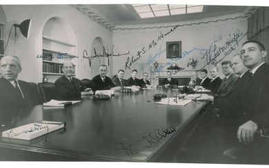 John F. Kennedy and Cabinet Oversized Signed Photograph