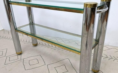 Karl Springer Attributed Console Table. Brass and Stee