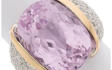 Kunzite, Diamond, White Gold Ring The ring features a...
