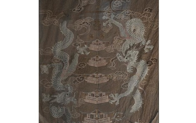 Large Framed Japanese Silk Embroidery Tapestry