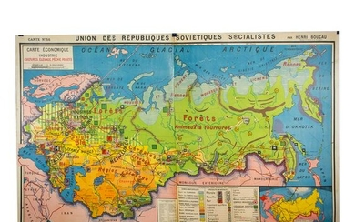 Large French map of the USSR /URSS 1970 school aid
