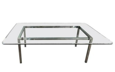 Large Rectangular Glass and Chrome Dining Table