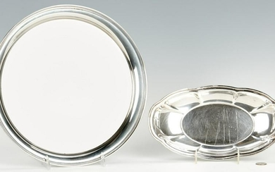 Large Sterling Round Tray and Bread Tray