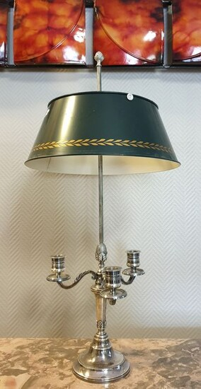 Large hot water bottle lamp in silver metal and sheet metal - Empire Style - Silver plated - 19th century